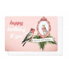 Wenskaart met papegaai - Happy birthday to you (1839)